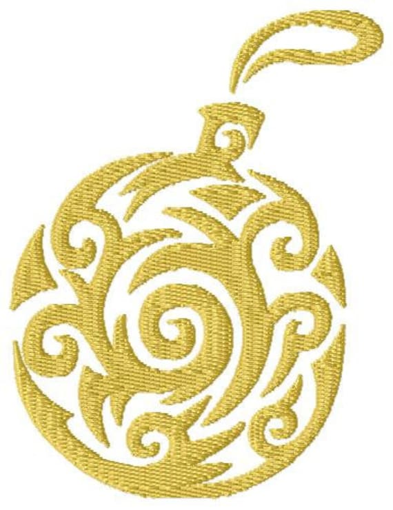 swirl christmas ornament machine embroidery design