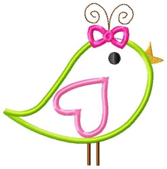 Girl Bird Applique Design