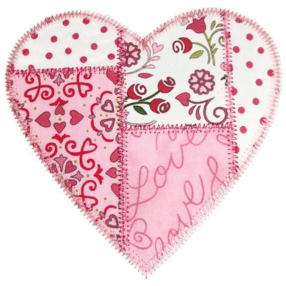 Patchwork Heart Machine Embroidery Applique Design