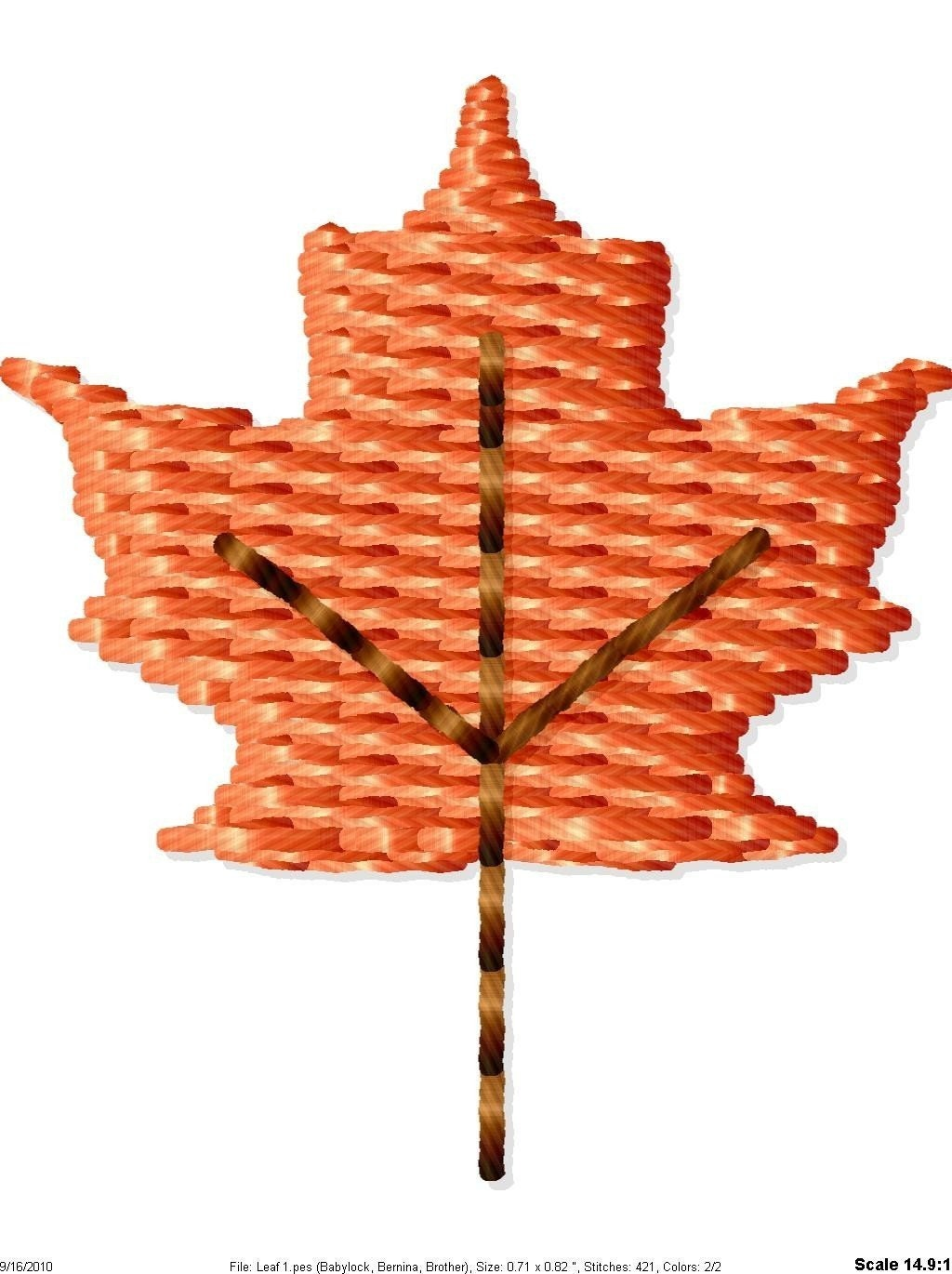 Fall leaf machine embroidery design mini