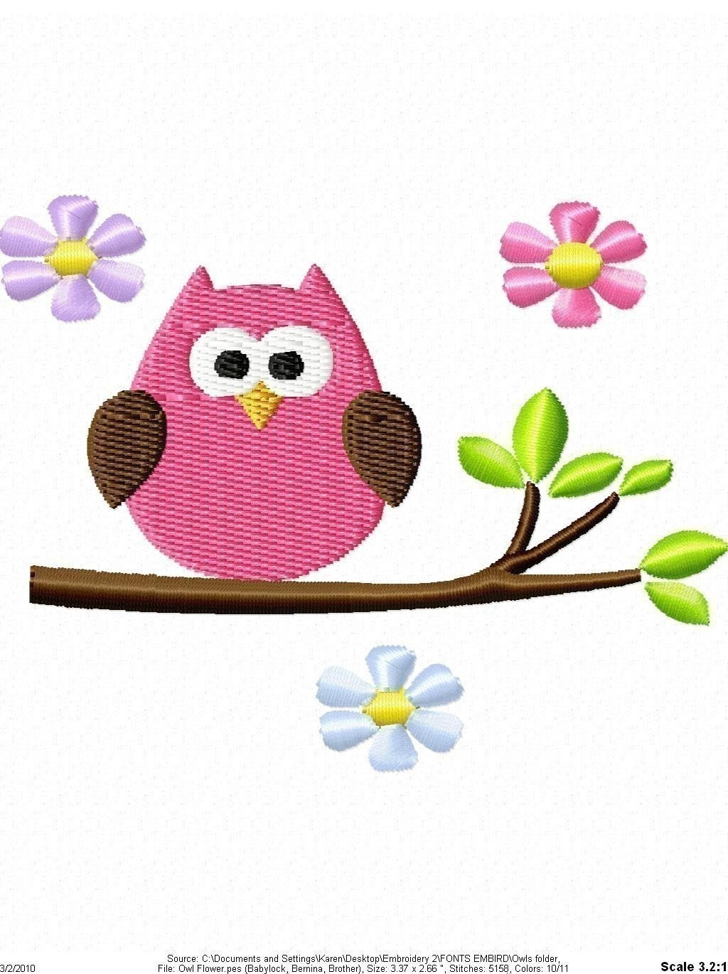 Cute Owl Machine Embroidery Design Single
