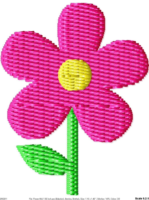 Simple flower mini machine embroidery design