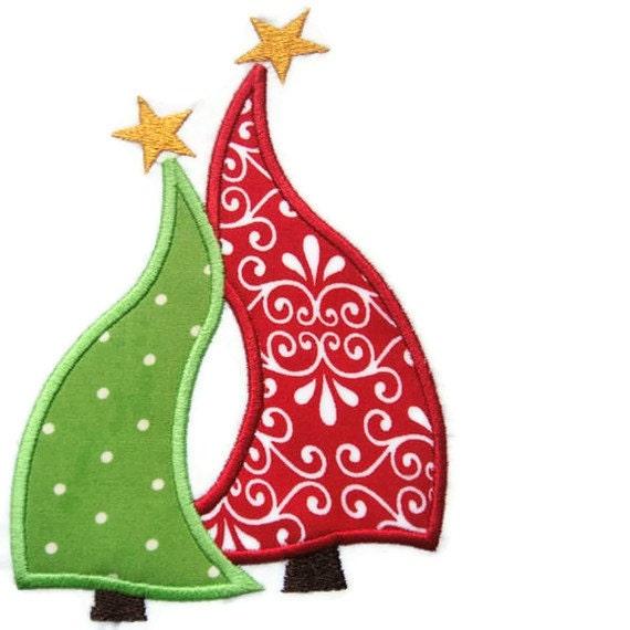 Wavy Christmas Trees Machine Embroidery Applique Design