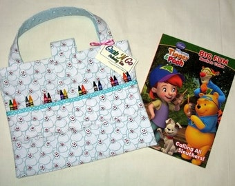 CLEARANCE 35% Discount ~ Tote for Coloring Book and Crayons ~ Crayon Holder ~ Snowman ~ Art Supplies Bag ~ Kids Craft Organizer ~ Art Tote
