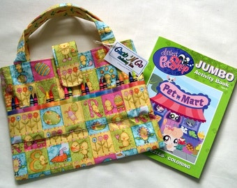 Art Supplies Organizer ~ CLEARANCE 35% OFF ~ Coloring Book and Crayons Tote ~ Kids Art Bag ~ Travel Bag for Children ~ Child Gift ~ Easter