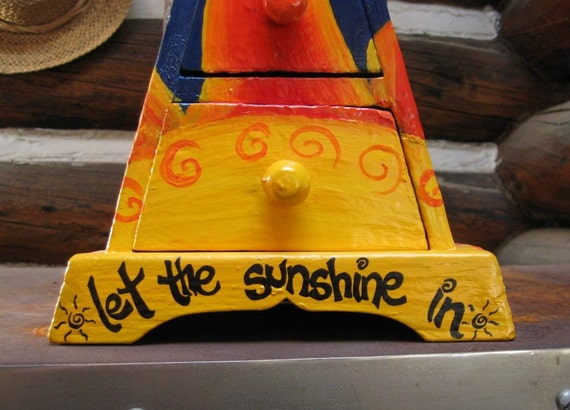 keepsake box - hand painted saying  - let the sunshine in -