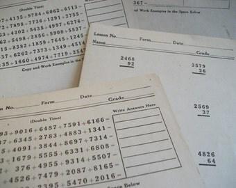 Vintage Math Test Cards