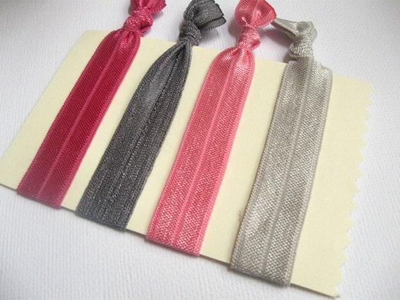 Elastic hairties/wristlets in Quartz set of 4