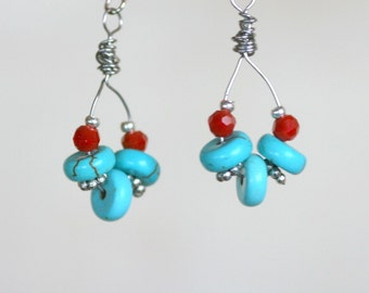 Turquoise and coral earrings, dangle earrings, red and blue, Gift for woman, loop earrings, gift under 25,  turqoise and red earrings