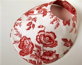 Reversible large bib - red flowers on white