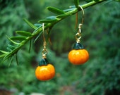 Glass Pumpkin Drop Earrings,  Czech Glass, Orange, Green,  Gold Vermeil
