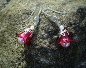 Lucite FlowerEarrings, Cranberry, Pearl, Czech Glass, White, Bali Sterling Silver