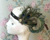 Peacock Feather, Flapper Headband, UK.