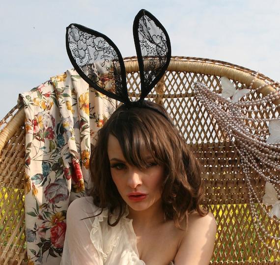 Mad hatter black lace bunny ears headband