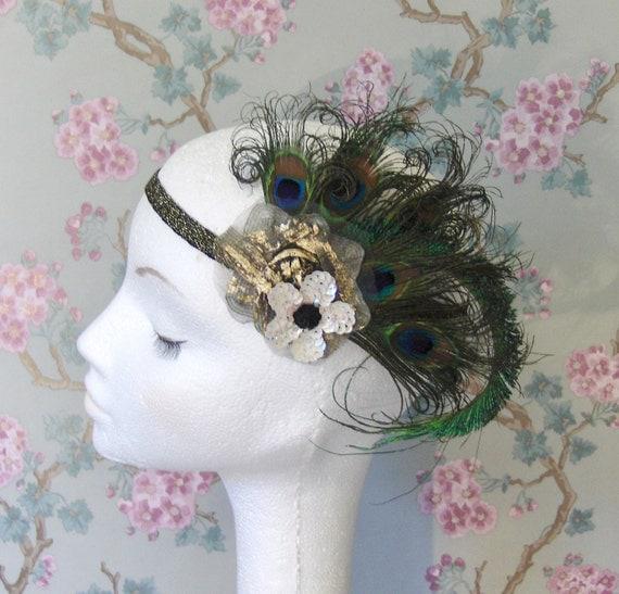 Peacock Feather, Flapper Headband, UK.