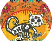 FELINEof the DEAD-Muertos Art Print Pocket Mirror