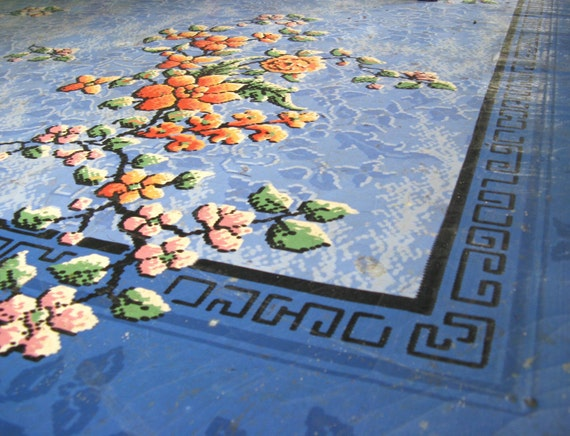 Items Similar To Vintage Linoleum Rug 6x9 1920s On Etsy