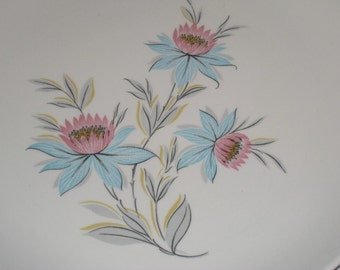 5 Retro Fairlane Plates by Steubenville, pink & blue flowers with grey leaves, 1950s 1960s midcentury china, TheRetroLife