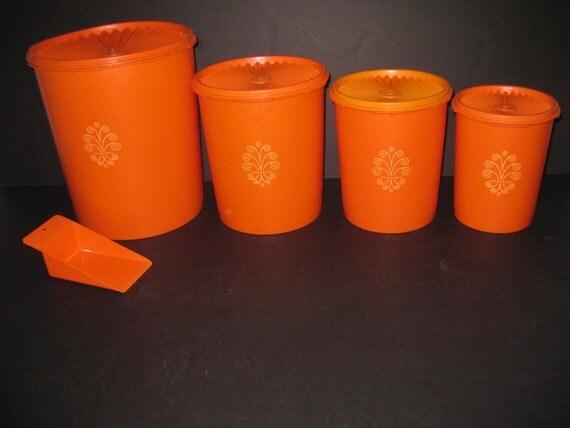 Retro Vintage Tupperware Canister Set 9 Pc Orange By