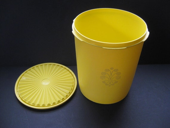 Retro Yellow Tupperware Canister Servalier Lid By Theretrolife