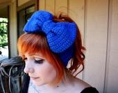 Blue Sparkle Crocheted Headband/Earwarmer with Bow