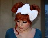 White Sparkle Crocheted Big Bow Ear Warmer Headband