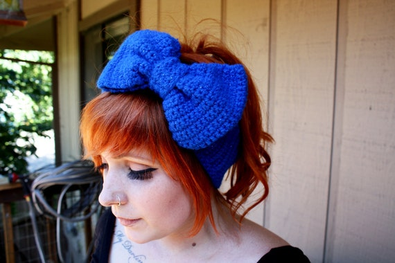 Blue Sparkle Crocheted Headband/Earwarmer with Bow - Little Bow Chic by TinyTangerines