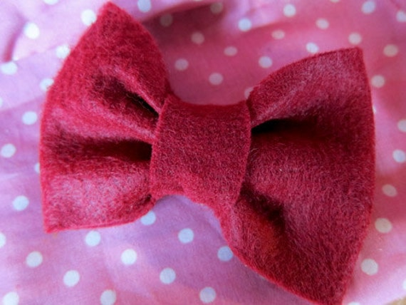 Burgundy Felt Hair Bow with Alligator Clip - Little Bow Chic by TinyTangerines
