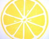 PRINT - lemon fruit BRIGHT YELLOW linocut citrus