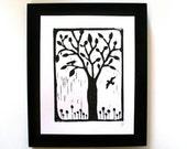 LINOCUT PRINT - Tree with birds BLACK linocut block print 8x10