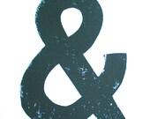 LINOCUT PRINT - ampersand & BLACK letterpress punctuation poster 8x10