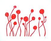 LINOCUT PRINT - Flowers RED block print 8x10 mid century modern letterpress poster