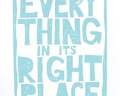 Radiohead letterpress block print - light blue LINOCUT 8x10 Everything in its right place