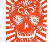 PRINT - Day of the dead skull ORANGE LINOCUT 8x10 Mexican calavera