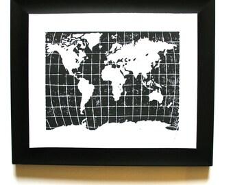 LINOCUT PRINT - world map BLACK 8x10 letterpress poster