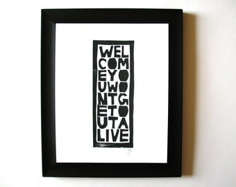 LINOCUT PRINT - Welcome BLACK typography letterpress poster 8x10