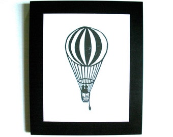 LINOCUT PRINT - Hot air balloon BLACK 8x10 letterpress poster on cotton paper - valentine