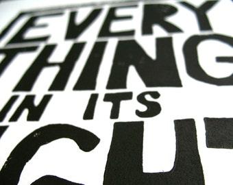 LINOCUT PRINT - Radiohead BLACK letterpress poster 8x10 typography