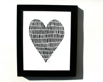 PRINT - minimal black heart 8x10 Valentine letterpress