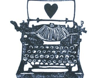 PRINT - Antique typewriter BLACK linocut print w/ heart 8x10 letterpress