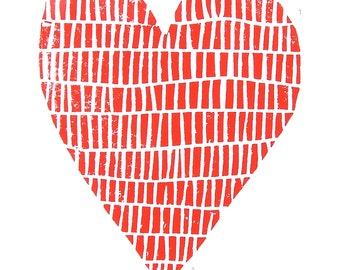 LINOCUT PRINT - red valentine heart 8x10 letterpress print