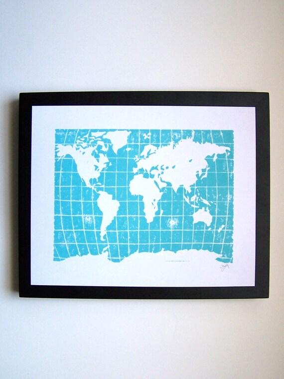 PRINT - world map ROBINS EGG BLUE LINOCUT 8X10