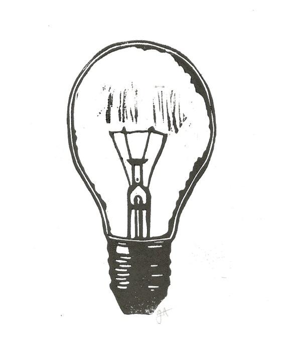 LINOCUT PRINT - lightbulb BLACK letterpress poster 8x10