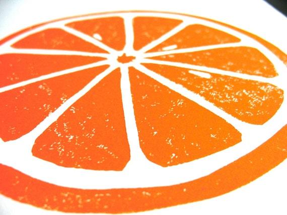 LINOCUT PRINT - Orange letterpress poster - citrus fruit 8x10