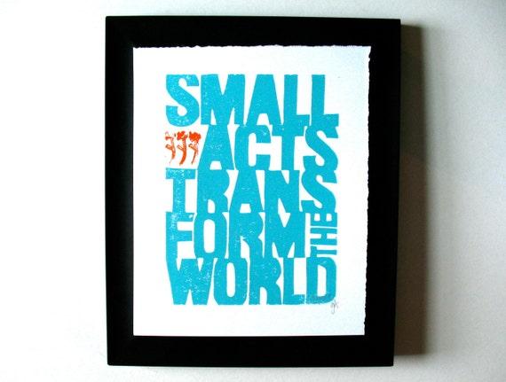 LINOCUT PRINT - Howard Zinn quote - light blue motivational typography letterpress poster 8x10