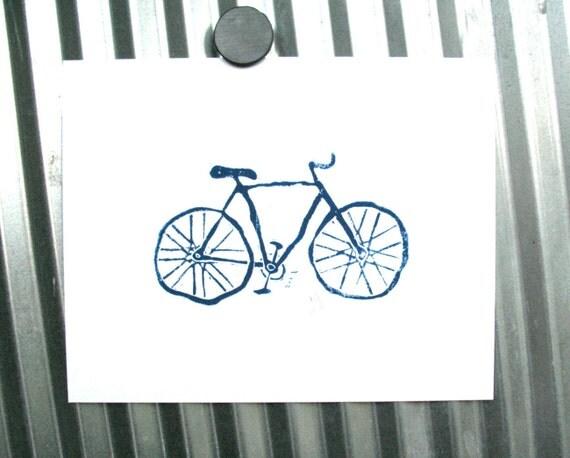 LINOCUT PRINT - Bike BLUE letterpress bicycle poster 8x10