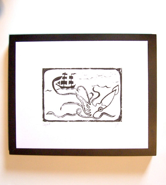 LINOCUT PRINT - Maritime squid and pirate ship BLACK letterpress poster 8x10 kraken of the deep