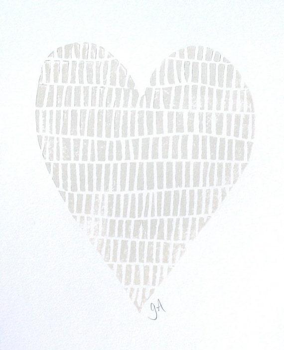 LINOCUT PRINT - light light silver valentine heart 8x10