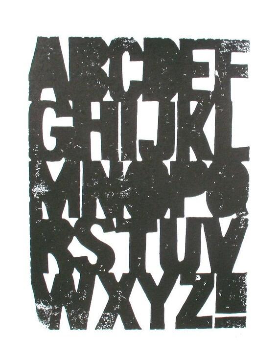 LINOCUT PRINT - Alphabet BLACK letterpress typography print 8x10