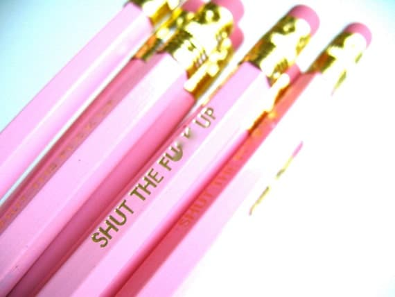 6 PENCILS - light pink shut the fxck up - funny GRAPHITE HEX pencils w/ hand-stamped kraft pencil box